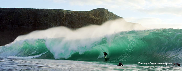 Surfing at the Cliffs of Moher